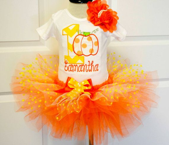 Girls First Fall pumpkin birthday outfit,1st Birthday Girl orange yellow candy corn birthday outfit,ThanksGiving birthday tutu outfit