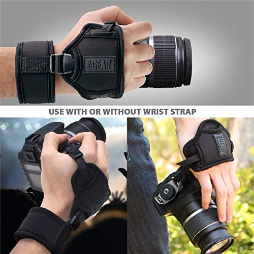 USA Gear DualGRIP Black Professional Digital & Film DSLR Camera Hand Grip Strap - Works with Canon EOS Rebel T5 , T5i , T4i , T3i , SL1 , 70D , EOS 7D Mark II , PowerShot SX530 HS , SX60 HS & More