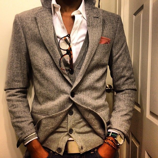 "onlythequintessential: ""maninpink: ""Grey & White "" Layers are always good onlythequintessential """