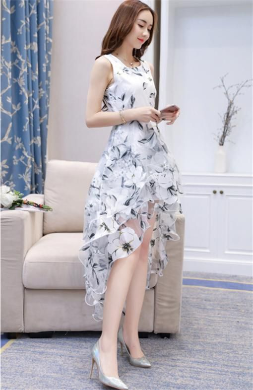Dinner evening dress midi dresses Eugen Puff Dress Women s Summer  Sleeveless Swing Long Costume Ladies Costume Dress Beach Dress VENFLON  Women Korean ... 5c2d88330