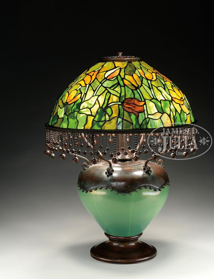 Tiffany studios tulip table lamp tiffany studios table lamp has leaded glass shade with mottled