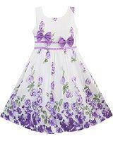 White and purple flowers girls dress