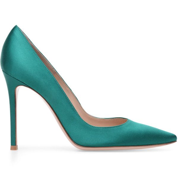See this and similar pumps - Gianvito Rossi's iconic pump in silky Emerald Green satin. Its classic pointy toe and 105 mm stiletto pump will never go out of style.