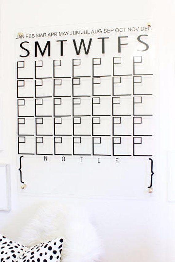 monthly calendar wall decal   calendar ideas   dry erase calendar