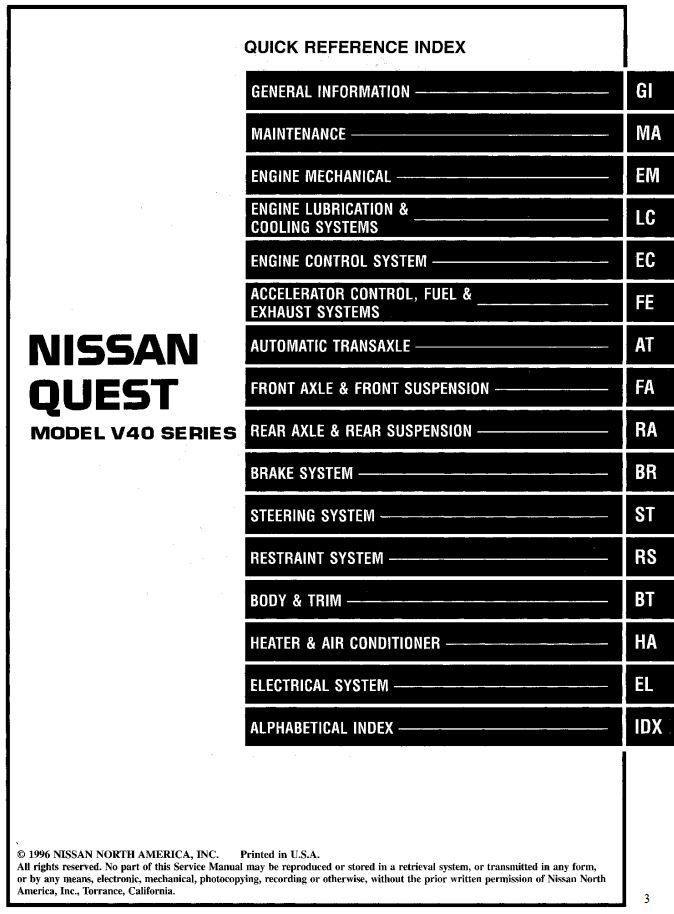 New Post Nissan Quest Model V40 Series 1997 Service Manual Has Been Published On Procarmanuals Com Https Procarmanuals Com Nis Nissan Quest Nissan Mini Van