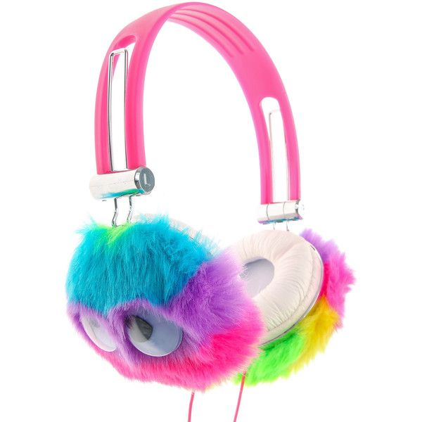 Rainbow Fur Monster Headphones, Headphones, all, Your Fave's, Phone &... ($33) ❤ liked on Polyvore