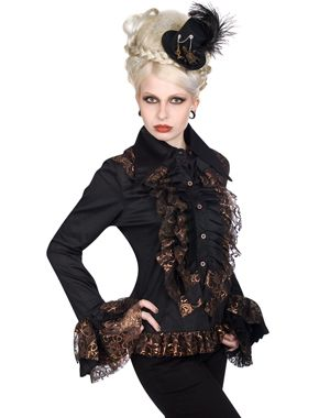 Lovely Steampunk inspired blouse from Aderlass with copper effect frills. £69.99.