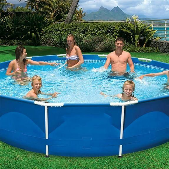 Metal Frame Set Above Ground Swimming Pool 360x76cm 141 7 X30 Above Ground Swimming Pools Swimming Pools Pool