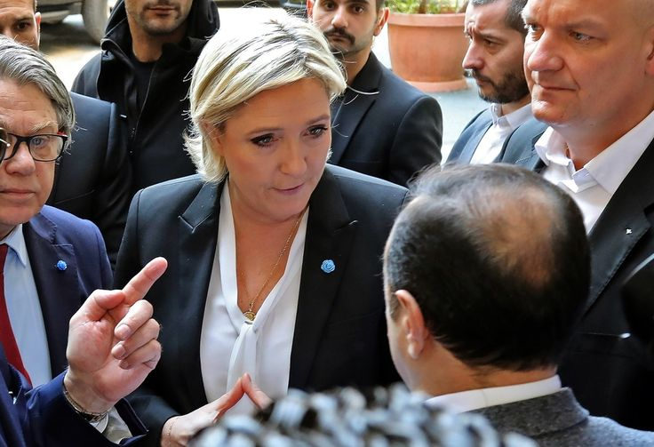 French National Front candidate was offered a shawl to cover her hair during visit to meet Sunni cleric in Beirut