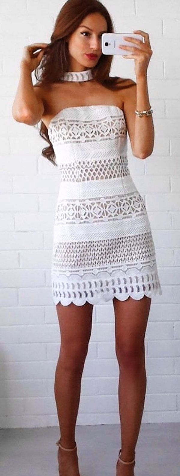 #winter #outfits white tube-top bodycon dress