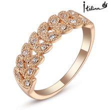 Reais Italina anéis para as mulheres Genuine áustria cristal 18 K Rose banhado a ouro anéis Vintage New Hot Sale # RG95683Rose(China (Mainland))
