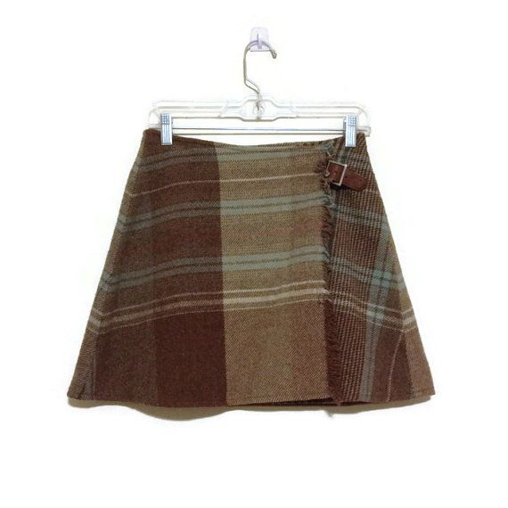Early 90's clueless skater skirt / wool plaid tartan with fringe / leather buckle detail  / Ralph Lauren / wrap skirt  / Equestrienne
