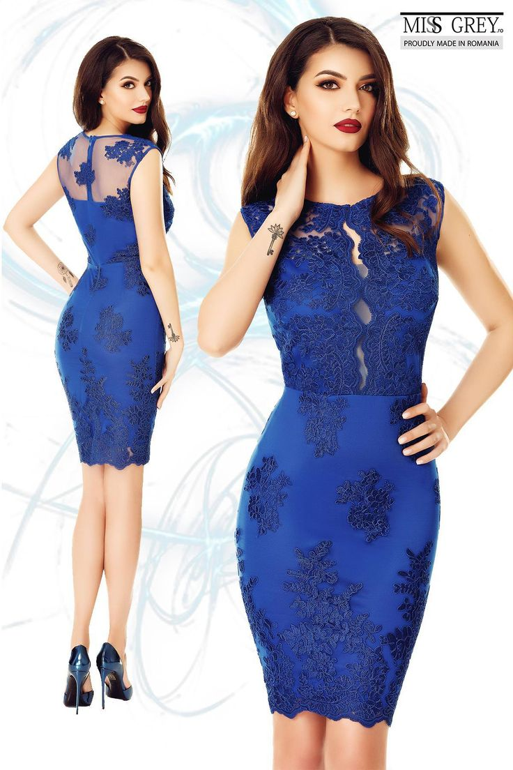 This summer you must shine! Choose a spectacular cobalt blue dress made from precious lace