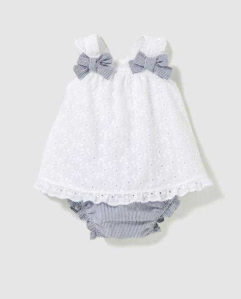 c25e68452 Vestido de bebé niña Dulces en blanco con lazos