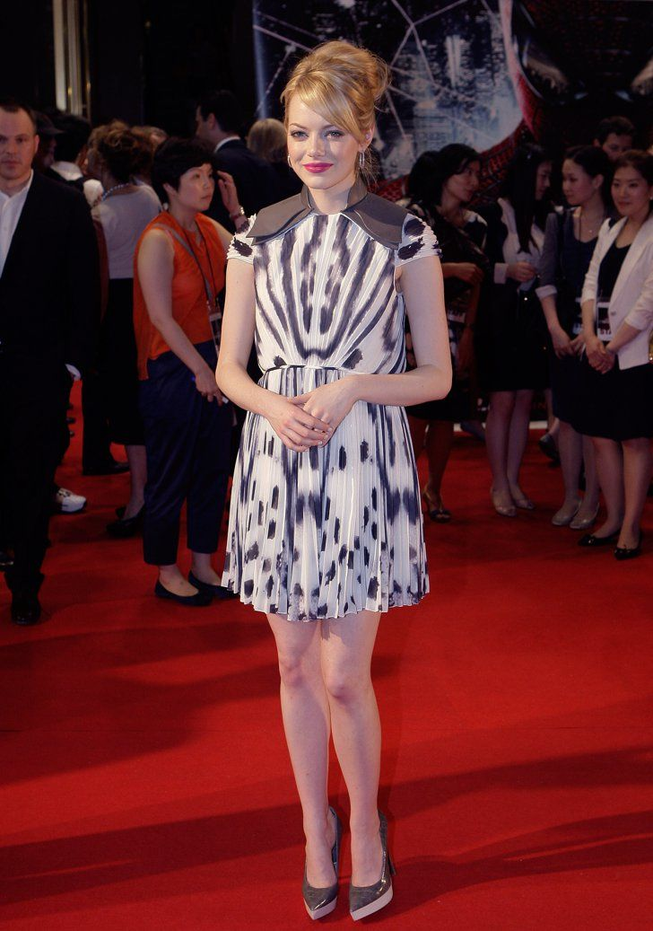 Pin for Later: 79 Big Reasons to Celebrate Emma Stone's Style  Emma sported a printed gray and white Fendi chiffon sheath with Stella McCartney pumps at the South Korea premiere of The Amazing Spider-Man.