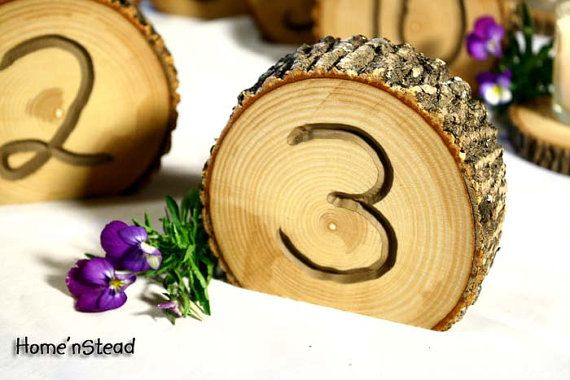 Rustic Wedding Log Table Numbers Ash Wood Bark by HomenStead, $6.00