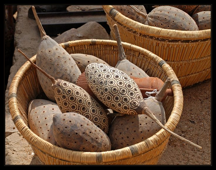 "artafrica: "" Decorated baobab seed pods in a basket. Photo taken in Mali by Ursula G. """