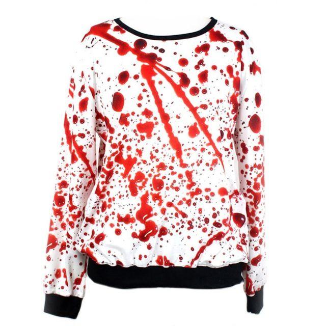 2015 Harajuku смешные 3D крови печать пуловер женщины топы высокое качество свободного покроя женщин толстовки верхняя одежда