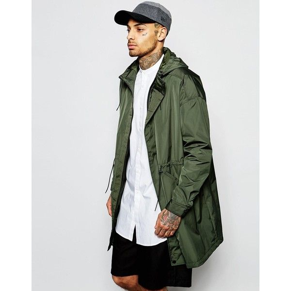 ASOS Parka Jacket With Memory Fabric In Khaki ($37) ❤ liked on ...