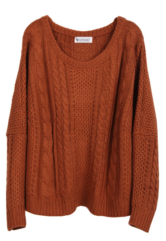 Coffee Batwing Long Sleeve Pullovers Sweater US$22.00