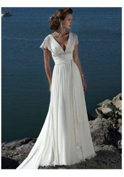 une ligne de v-cou modestes empire en mousseline de soie des robes de mariage de plage