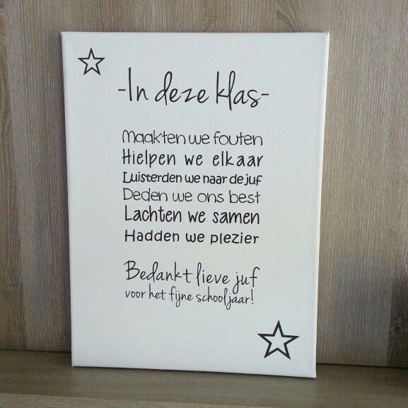Voor de juf! Een canvasdoek met tekst sticker.