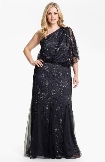 Adrianna Papell Beaded One Shoulder Gown (Plus) available at #Nordstrom