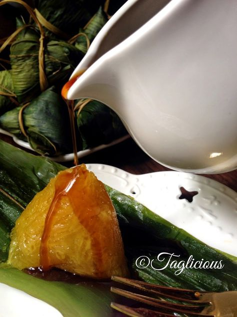 """TAGlicious: Lye water Rice Dumpling (Kee Zhang). One of the easiest to make. You just need glutinous rice, lye rock, water, and leaves to wrap like banana leaves. This stuff tastes bland, so serve it with """"KAYA, Honey or Sugar. I love to have my Kee Zhang with Gula Melaka syrup."""""""