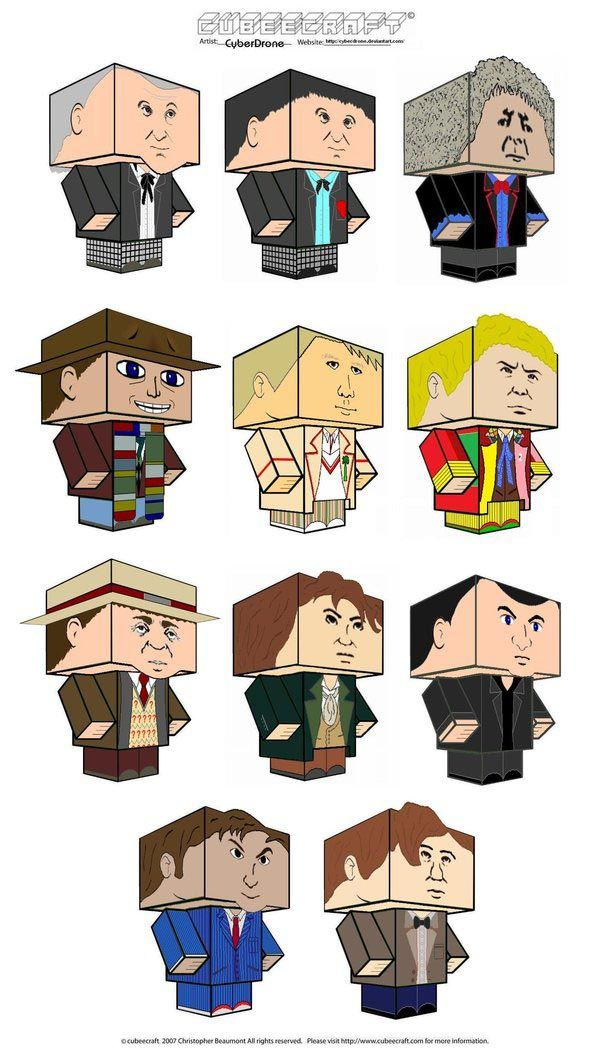 Doctor Who Paper Crafts -- blockheads, so cute! Plus TARDIS and Dalek...