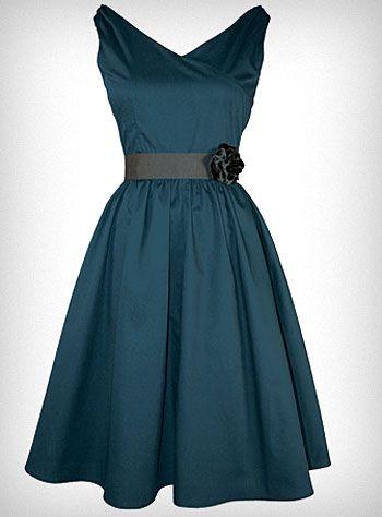 Peacock Blue Flair Dress, cocktail length & v-neckline with retro look