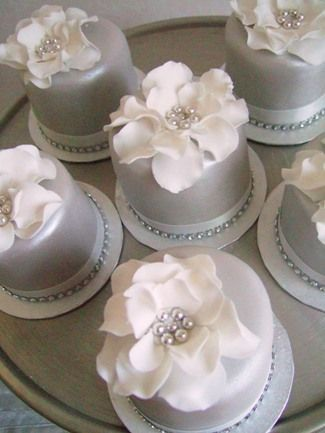 gold and pearl mini cakes | Wedding anniversary cakes Bristol, Silver wedding anniversary cake ...