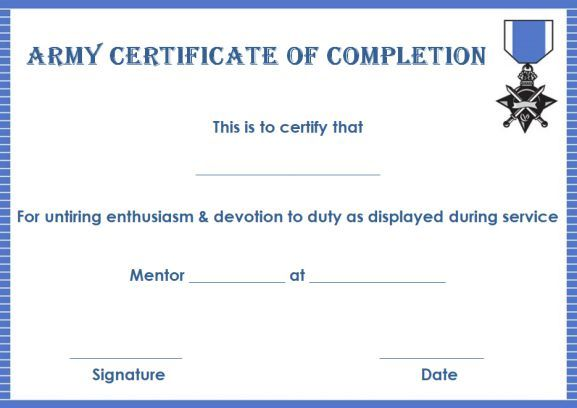 Army Certificate Of Completion Template  Certificate Of