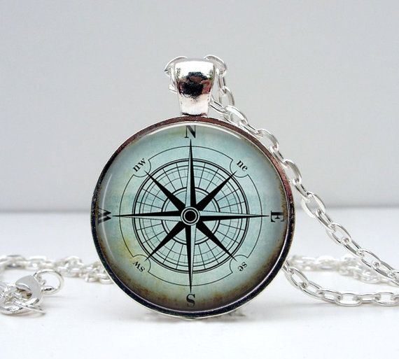 Compass Necklace : Blue. North South East West. Pendant. Picture Pendant. Silver Jewelry. Handmade Jewelry. Jewellery. Lizabettas (1051)