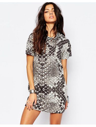 Noisy May Large Snake Print Dress With Sport Collar - Multi