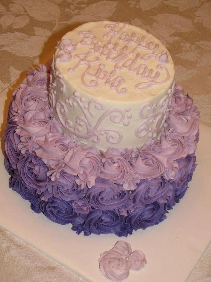 Purple ombre rose cake - I LOOOVE the way the 1M tip looks like roses. I top all my cupcakes with these blooms :-)