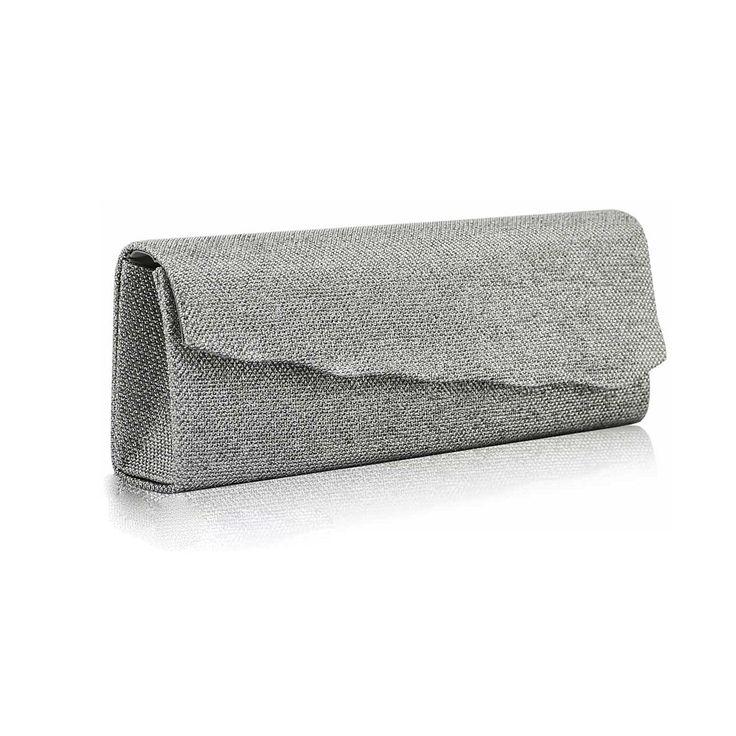 Poșetă de seară plic argintie cu închidere asimetrică