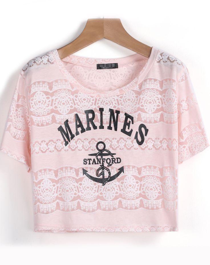 Pink Short Sleeve MARINES Anchors Print T-Shirt 7.90