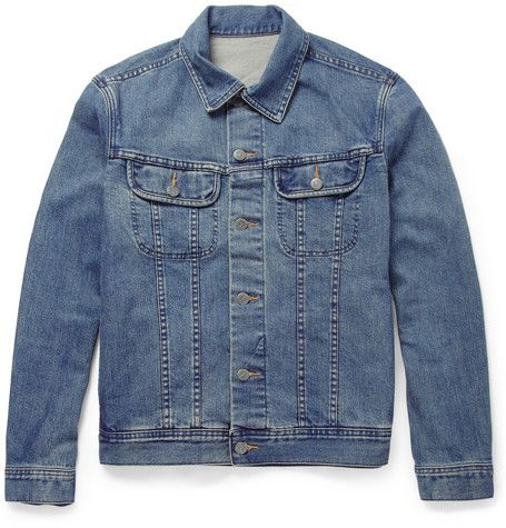 Blue denim jacket - don't forget to roll up the sleeves! I wouldn't do blue on blue though, unless you're heading to see a Bon Jovi concert.