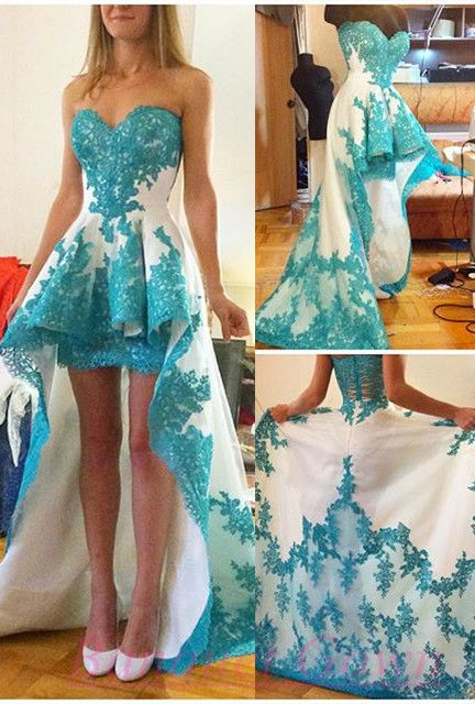 Blue Lace Applique High Low White Prom Dresses Ruffles Sweetheart Neck Sweep…