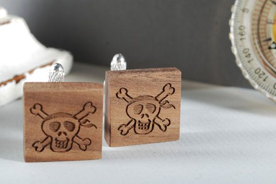 PIRATES cuflinks ready to give gift box solid by MoodForWood