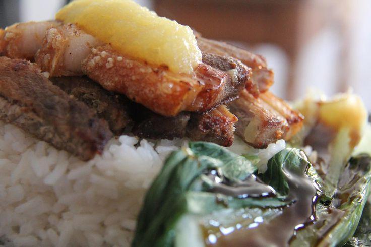 Crispy Pork on Rice with Bok Choy and nApple Sauce
