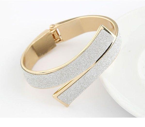 Bracelet manchette or/argent pailleté
