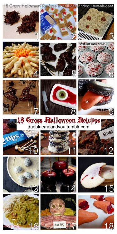 18 Gross Halloween Party Food with original sources and NO Pinterest links compiled by me for truebluemeandyou.tumblr.com. For more Halloween food ideas go here: halloweencrafts.tumblr.com/tagged/food Chocolate Armpit Hair Recipe from Saucy's Sprinkles here. Bloody Bandaids from Katherine Marie Photography here. Graham crackers + white frosting or cream cheese + strawberry or cherry jelly = bandaids Kitty Litter with Poop Recipe and Tutorial from All Things Thrifty here. Dollar Store litter…
