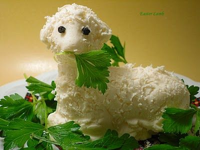 Polish traditions: butter lamb, blessing of the food, food that points to Christ--I remember having this in our Easter basket and having the Easter baskets blessed