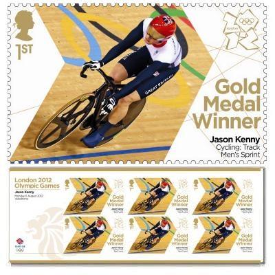 Gold Medal Winner stamp - Jason Kenny, Cycling, Men's Sprint