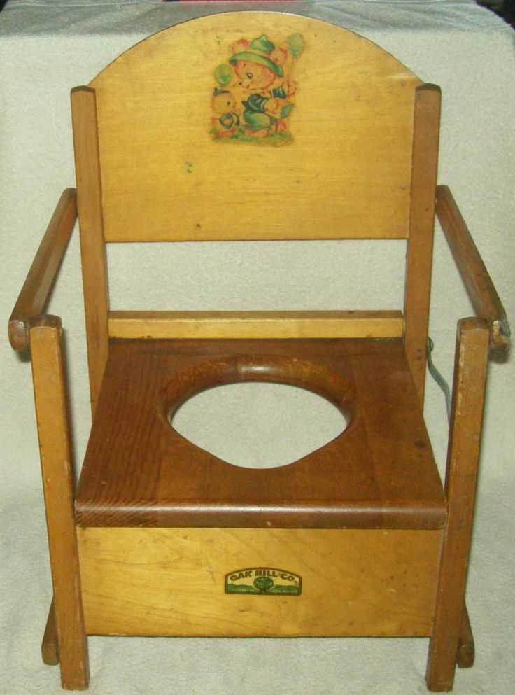 Vintage Antique Oak Hill Co Baby Child Wood Potty Training Chair