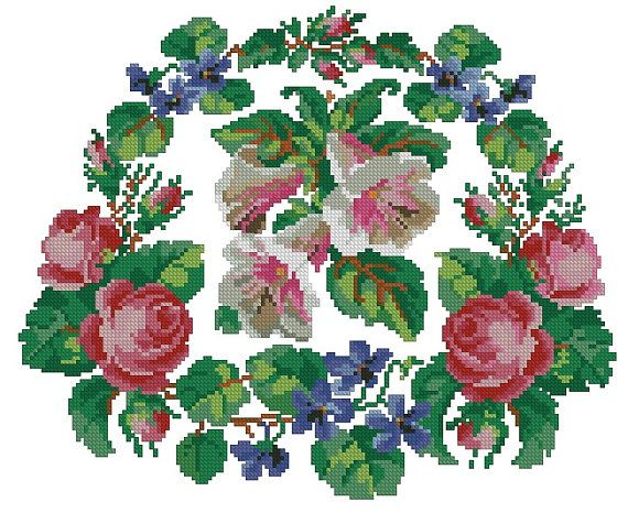 Chair antique cross stitch pattern with roses and violets for Berlinwork