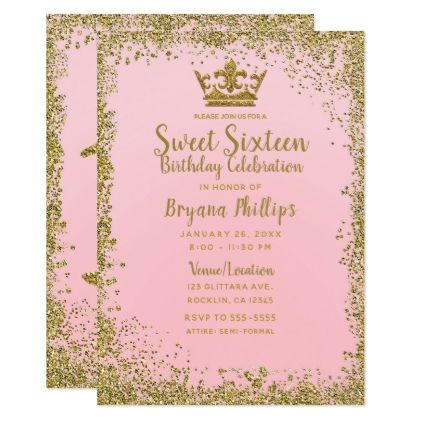Blush Pink & Gold Glitter Crown Sweet 16 Party Card - blush pink gifts unique special diy custom