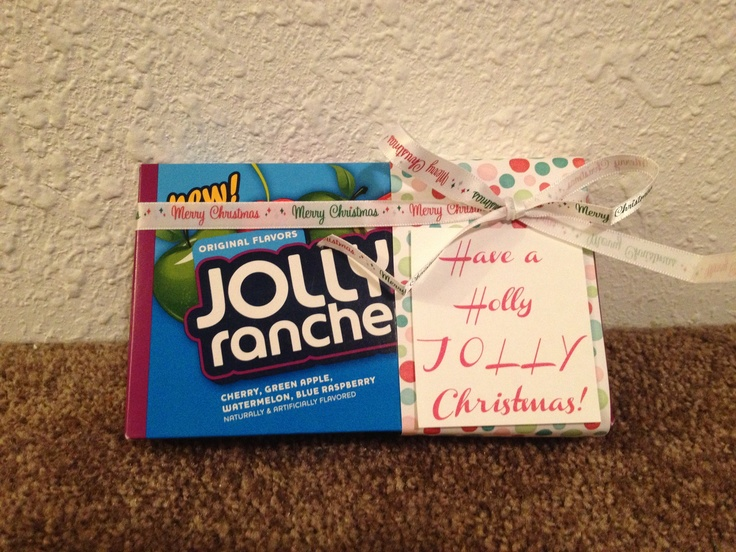"Yes, I Jillian Butters made this as well. My spin on #jollyranchers. ""Have a holly JOLLY Christmas!"" Secret Santa gift ideas for teachers, students, co-workers, neighbors, family, and friends."