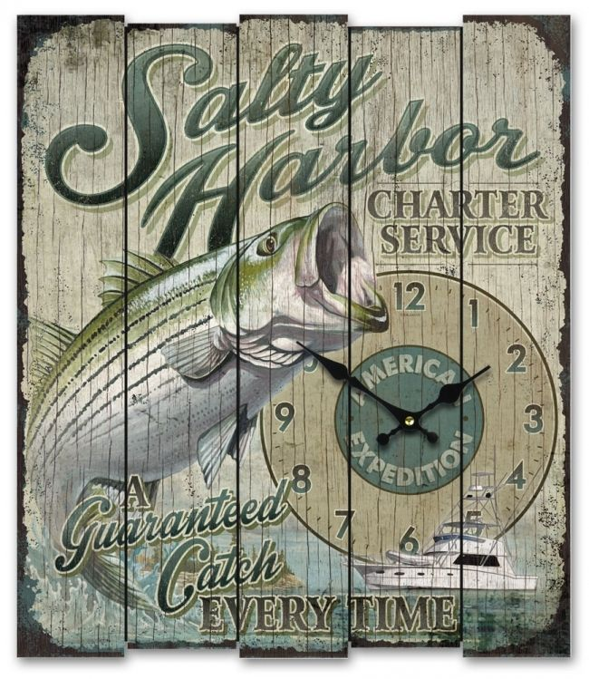 Salty Harbor Charter Service (Striped Bass) Wooden Cabin Sign Clock - American Expedition